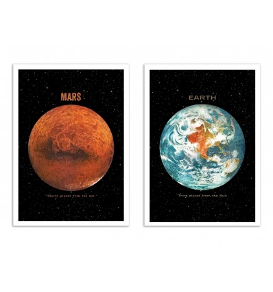 2 Art-Posters 30 x 40 cm - Duo Earth and Mars Planets - Terry Fan