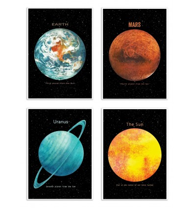 4 Art-Posters 20 x 30 cm - Pack 4 planets - Terry Fan