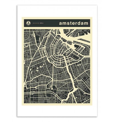 Art-Poster 50 x 70 cm - Amsterdam Map - Jazzberry Blue