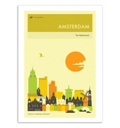 Art-Poster 50 x 70 cm - Amsterdam Travel Poster - Jazzberry Blue