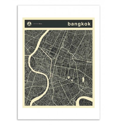 Art-Poster 50 x 70 cm - Bangkok Map - Jazzberry Blue