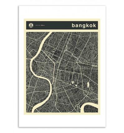 Art-Poster 50 x 70 cm - Bangkok Map - Jazzberry Blue