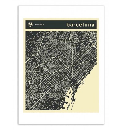 Art-Poster 50 x 70 cm - Barcelona Map - Jazzberry Blue