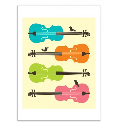 Art-Poster 50 x 70 cm - Birds on cello strings - Jazzberry Blue