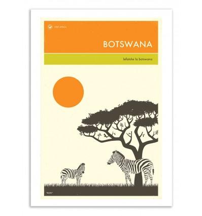 Art-Poster 50 x 70 cm - Botswana Travel Poster - Jazzberry Blue