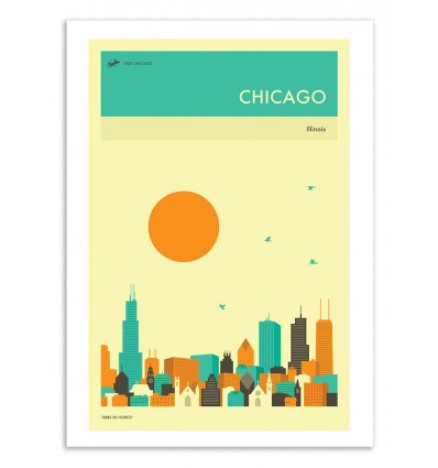 Art-Poster 50 x 70 cm - Chicago Travel Poster - Jazzberry Blue
