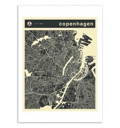 Art-Poster 50 x 70 cm - Copenhagen Map - Jazzberry Blue