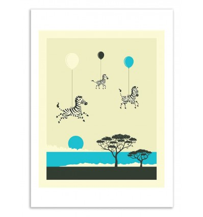 Art-Poster 50 x 70 cm - Flock of zebras - Jazzberry Blue