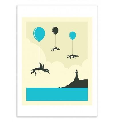 Art-Poster 50 x 70 cm - Flock of penguins - Jazzberry Blue