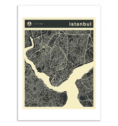 Art-Poster 50 x 70 cm - Istanbul Map - Jazzberry Blue