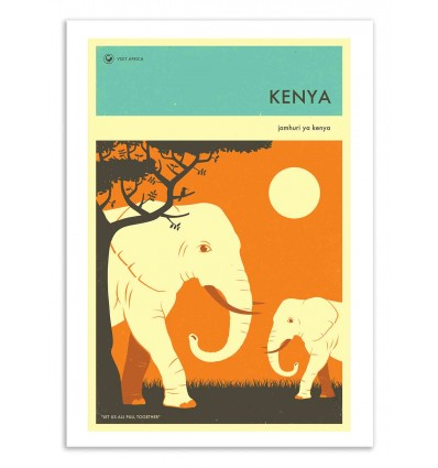 Art-Poster 50 x 70 cm - Kenya Travel Poster - Jazzberry Blue