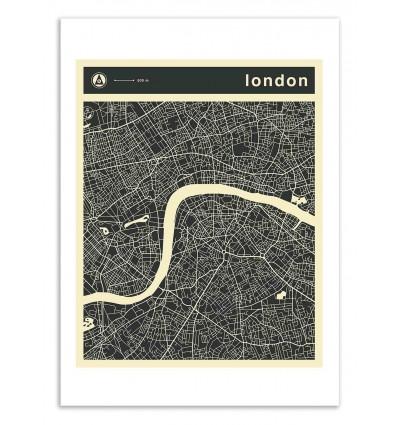 Art-Poster 50 x 70 cm - London Map - Jazzberry Blue