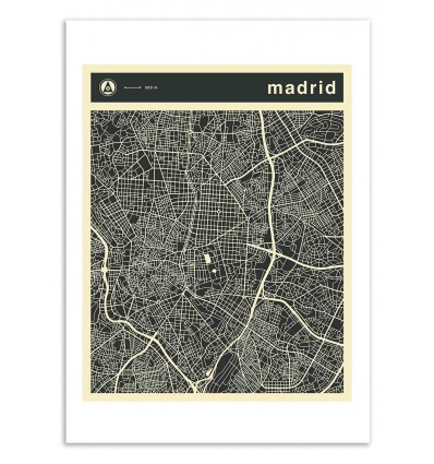 Art-Poster 50 x 70 cm - Madrid Map - Jazzberry Blue