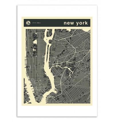 Art-Poster 50 x 70 cm - New-York Map - Jazzberry Blue
