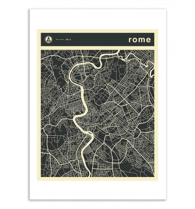 Art-Poster 50 x 70 cm - Rome Map - Jazzberry Blue