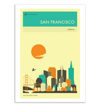 Art-Poster 50 x 70 cm - San Francisco Travel Poster - Jazzberry Blue