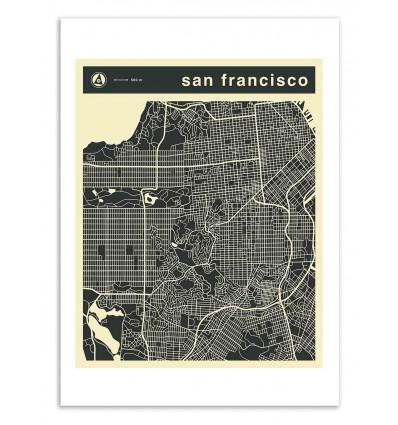 Art-Poster 50 x 70 cm - San Francisco Map - Jazzberry Blue