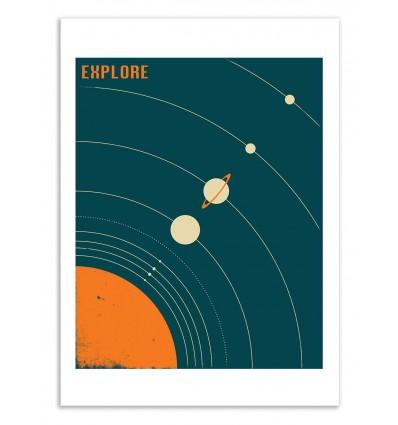 Art-Poster 50 x 70 cm - Explore Solar System - Jazzberry Blue
