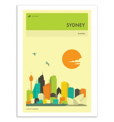 Art-Poster 50 x 70 cm - Sydney Travel Poster - Jazzberry Blue