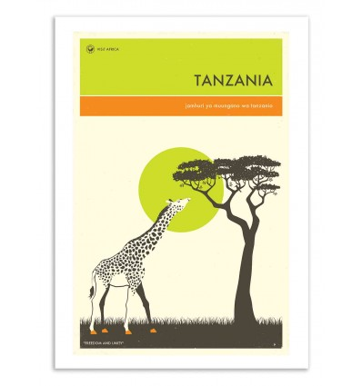 Art-Poster 50 x 70 cm - Tanzania Travel Poster - Jazzberry Blue