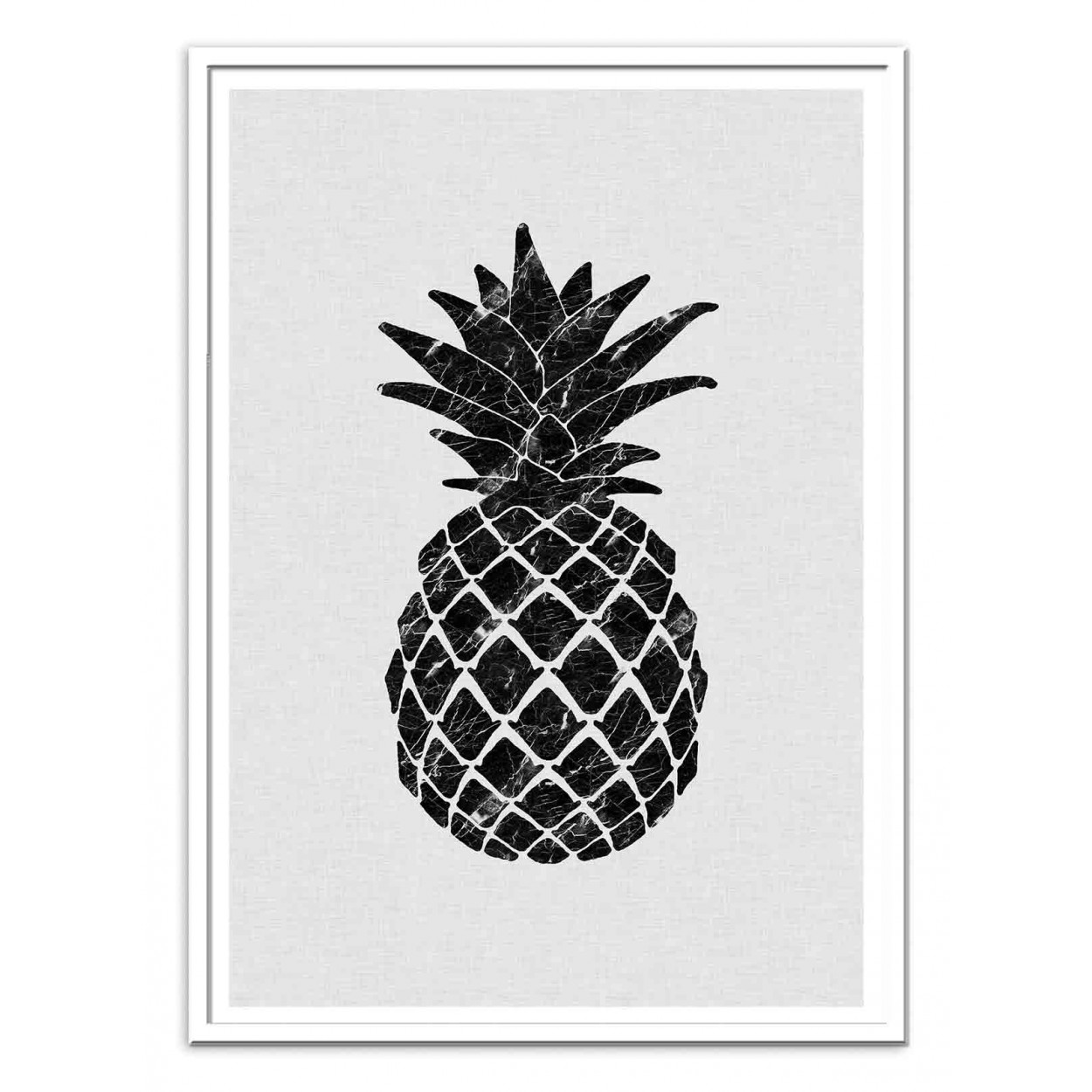 affiche d 39 art tableau et poster design d 39 un ananas en noir et blanc. Black Bedroom Furniture Sets. Home Design Ideas