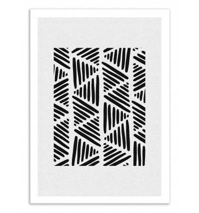 Art-Poster 50 x 70 cm - Black and white abstract - Orara Studio