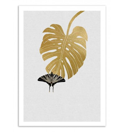 Art-Poster 50 x 70 cm - Butterfly and monstera - Orara Studio