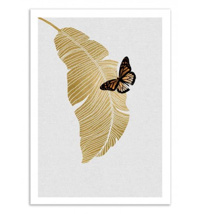 Art-Poster 50 x 70 cm - Butterfly and palm - Orara Studio