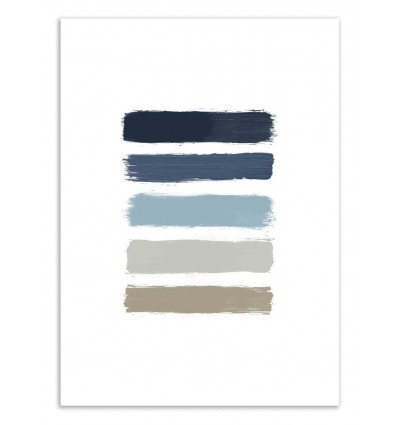 Art-Poster 50 x 70 cm - Blue and taupe stripes - Orara Studio