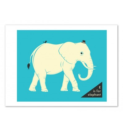 Art-Poster 50 x 70 cm - E for Elephant - Jazzberry Blue