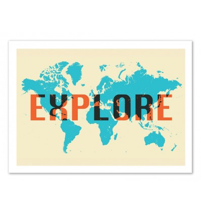 affiche d\'art, tableau, poster design paysage carte des Etats Unis