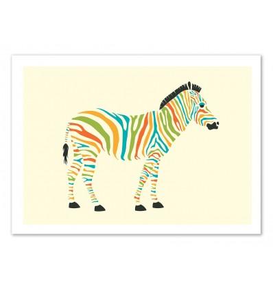 Art-Poster 50 x 70 cm - Zebra - Jazzberry Blue
