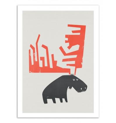 Art-Poster 50 x 70 cm - Grumpy Moose - Fox and Velvet