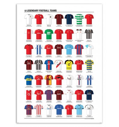 Art-Poster 50 x 70 cm - Legendary Football Teams - Olivier Bourdereau