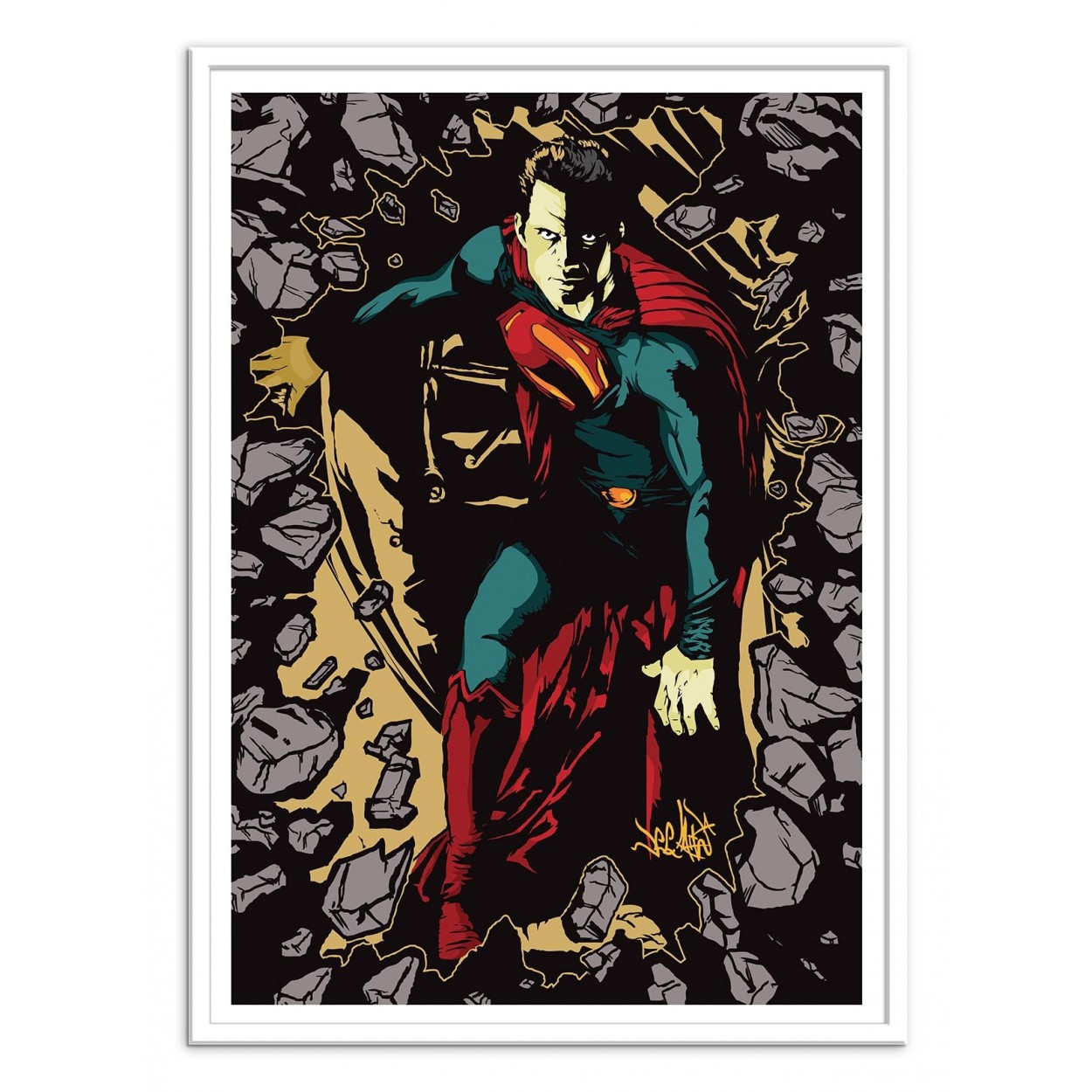 affiche art poster print frame portrait pop art of superman. Black Bedroom Furniture Sets. Home Design Ideas