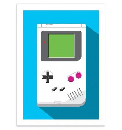 Art-Poster 50 x 70 cm - Retro Gamer : Game Boy - Olivier Bourdereau