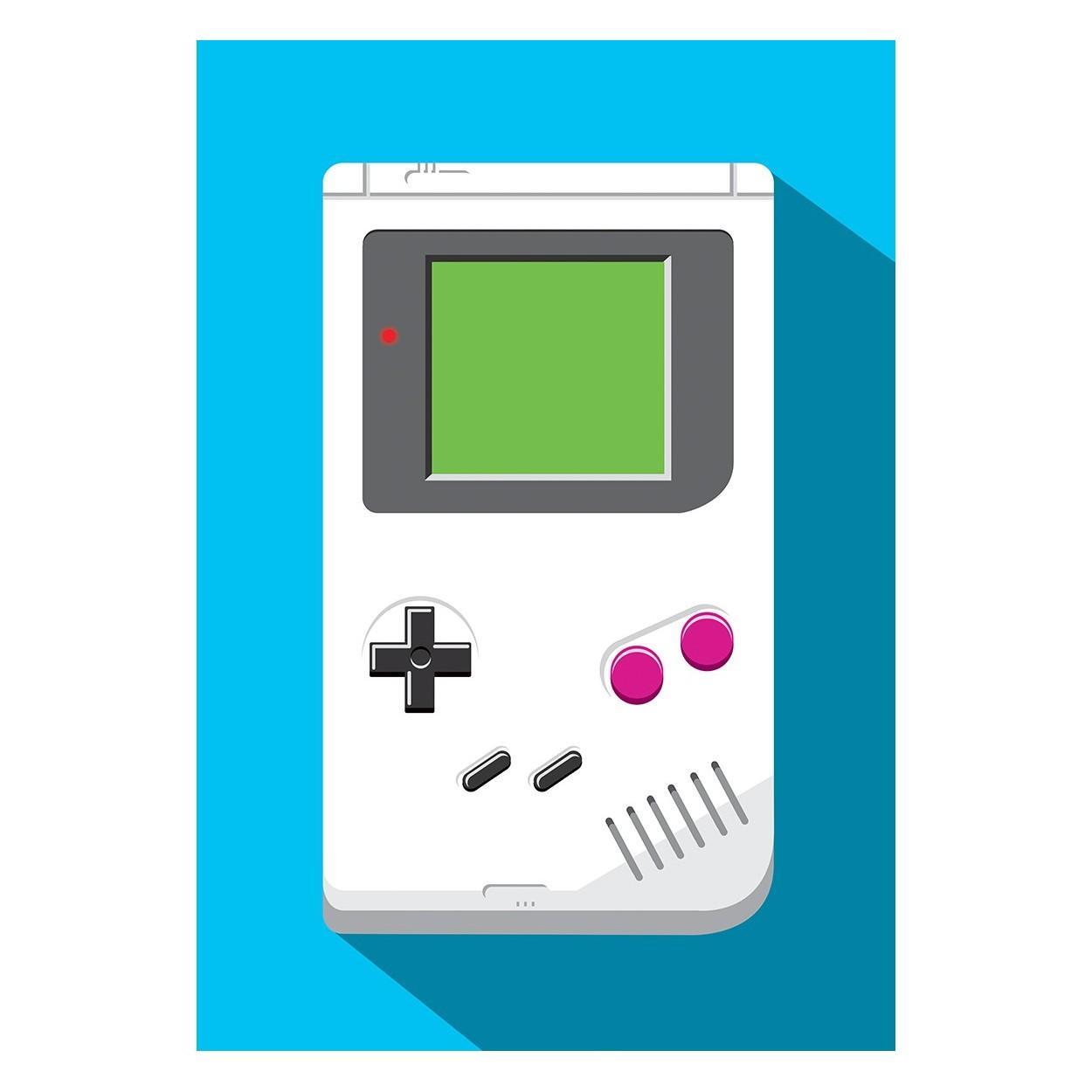 Poster design 50x70 -  Art Poster 50 X 70 Cm Retro Gamer Game Boy Olivier Bourdereau