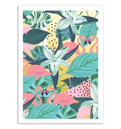 Art-Poster 50 x 70 cm - Flamingo Tropical - 83 Oranges