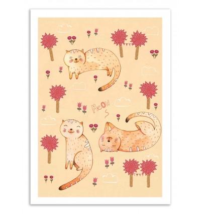 Art-Poster 50 x 70 cm - Orange cat patterns - Judith Loske