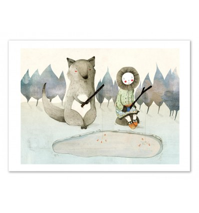 Art-Poster 50 x 70 cm - The little inuit girl and the wolf - Judith Loske