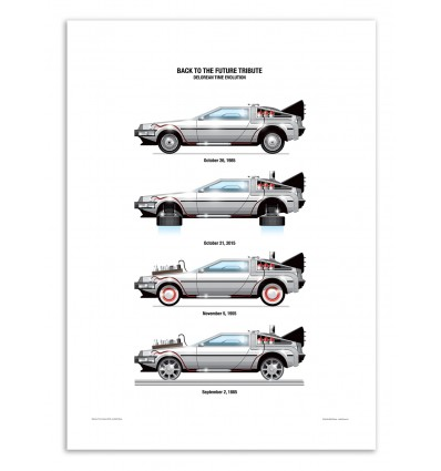 Art-Poster - DeLorean DMC-12 - Olivier Bourdereau