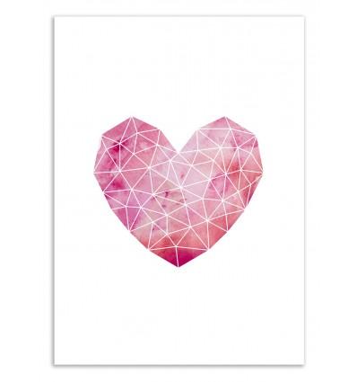 Art-Poster 50 x 70 cm - Geometric heart - Kookie Pixel