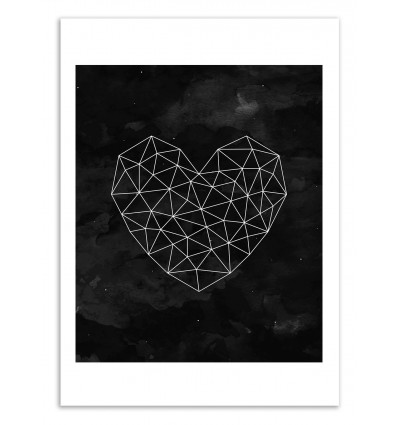Art-Poster 50 x 70 cm - Geometric heart Black and white - Kookie Pixel