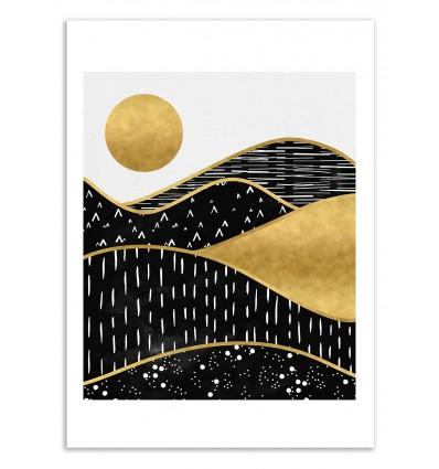 Art-Poster 50 x 70 cm - Gold sun - Kookie Pixel
