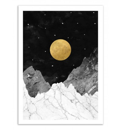 Art-Poster 50 x 70 cm - Moon and stars - Kookie Pixel