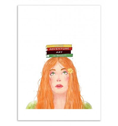 Art-Poster 50 x 70 cm - Book girl part.2 - Valeriya Korenkova