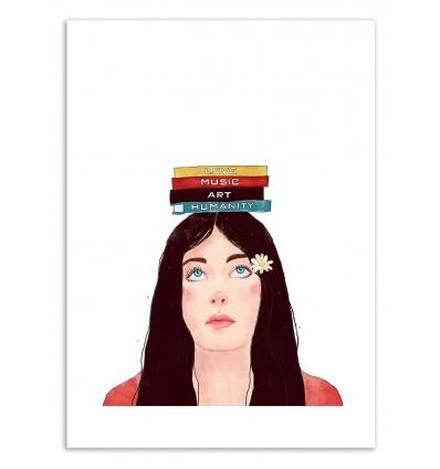 Art-Poster 50 x 70 cm - Book girl - Valeriya Korenkova