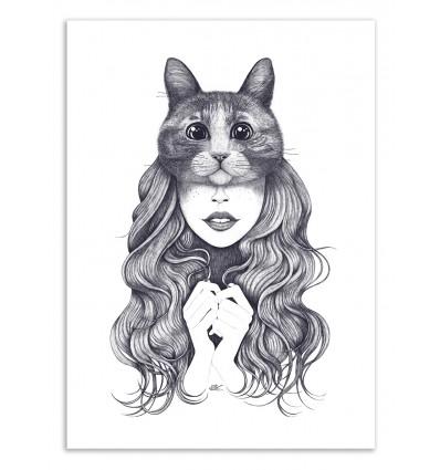 Art-Poster 50 x 70 cm - Cat girl - Valeriya Korenkova