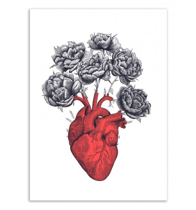 Art-Poster 50 x 70 cm - Heart with peonies - Valeriya Korenkova