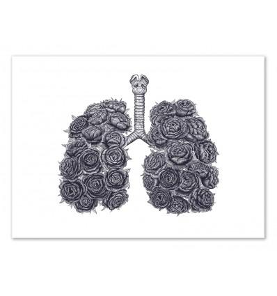 Art-Poster 50 x 70 cm - Lung with peonies - Valeriya Korenkova